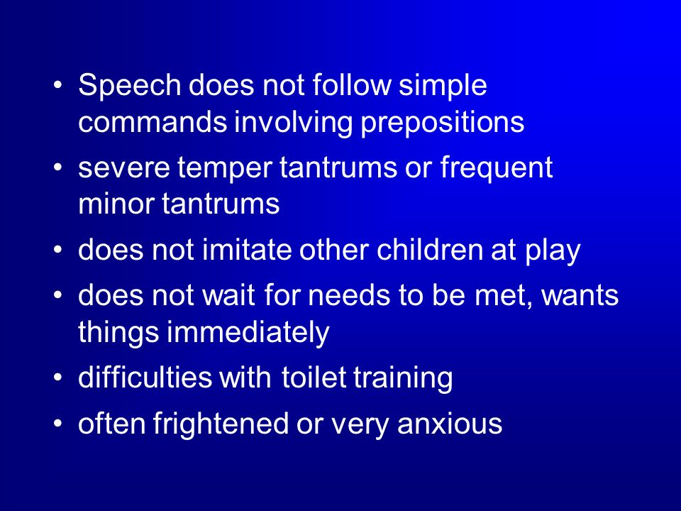 Speech does not follow simple commands involving prepositions