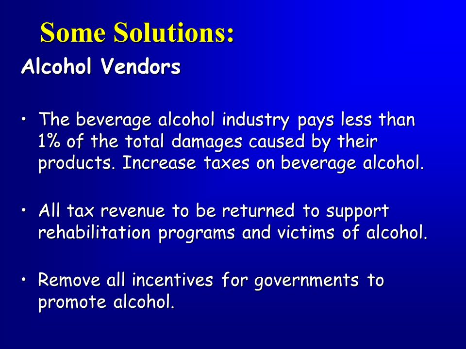 Some Solutions: Alcohol Vendors
