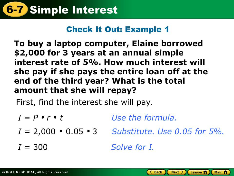 How Much Interest Will I Pay >> Warm Up Problem Of The Day Lesson Presentation Lesson