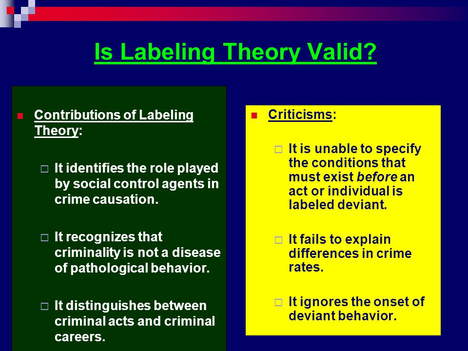 Is Labeling Theory Valid