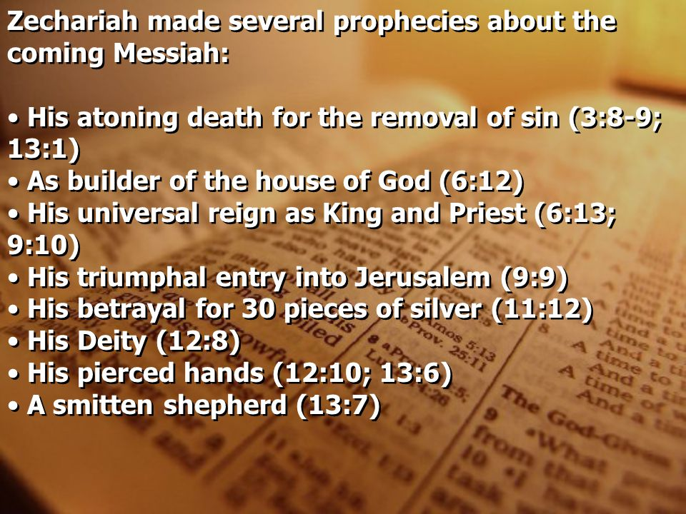 Zechariah made several prophecies about the coming Messiah: