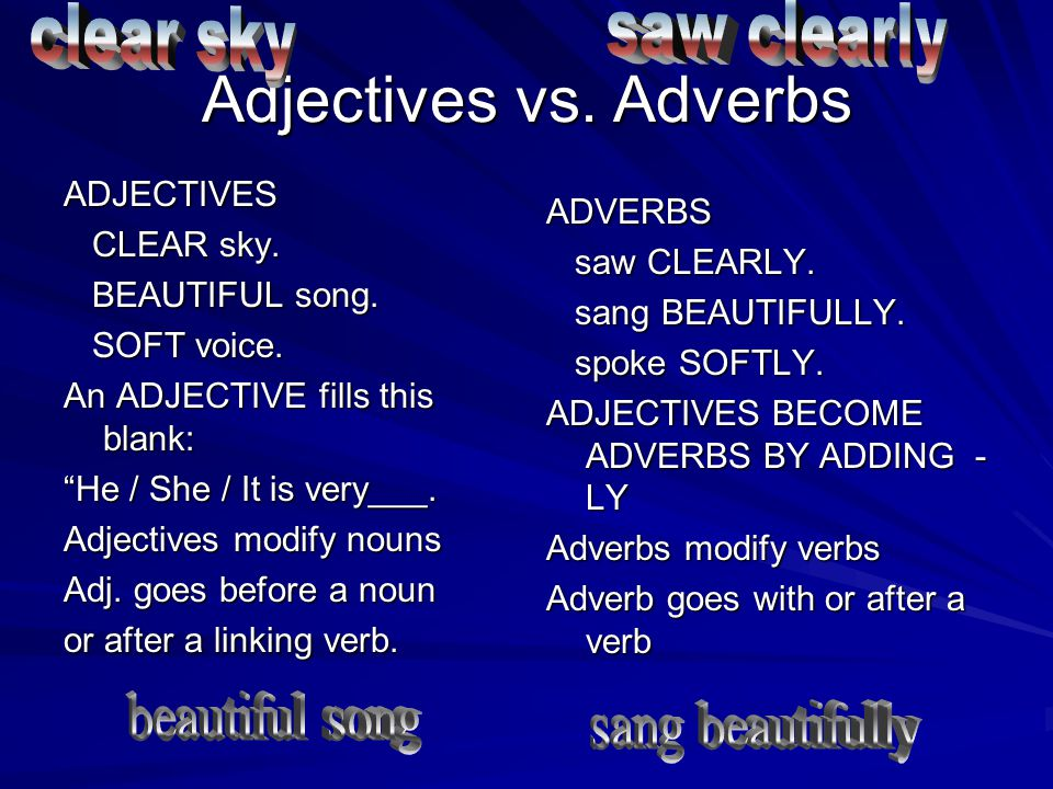 Adjectives vs. Adverbs saw clearly clear sky beautiful song