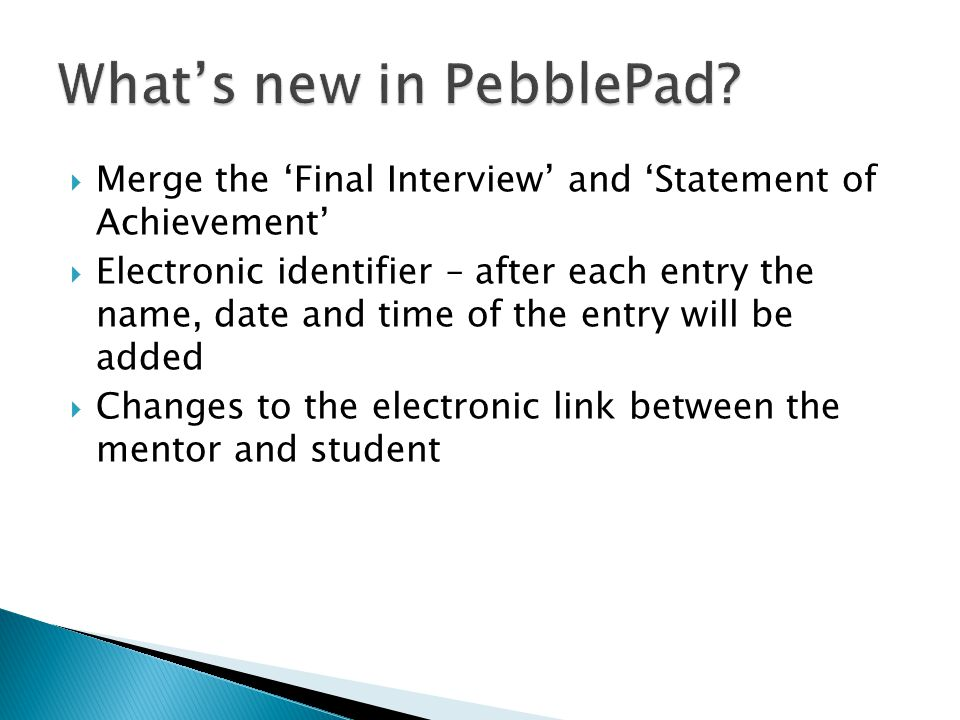 What's new in PebblePad