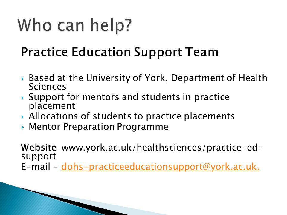 Who can help Practice Education Support Team