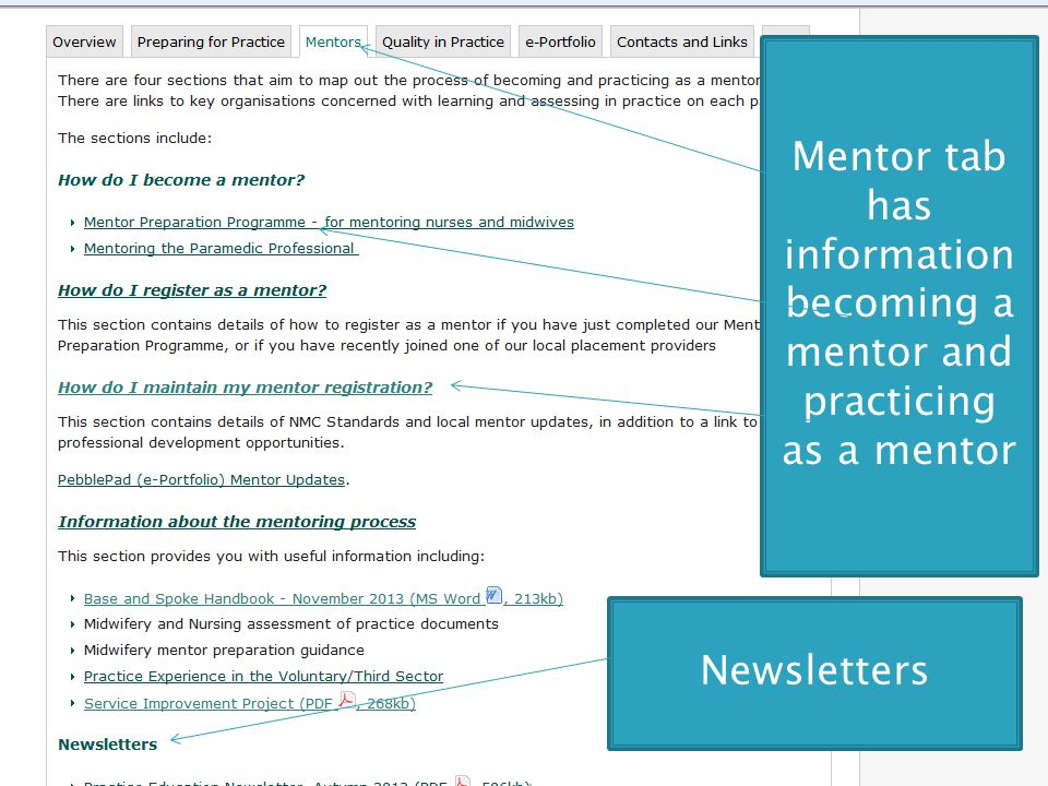 Mentor tab has information becoming a mentor and practicing as a mentor