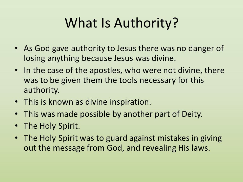 What Is Authority As God gave authority to Jesus there was no danger of losing anything because Jesus was divine.
