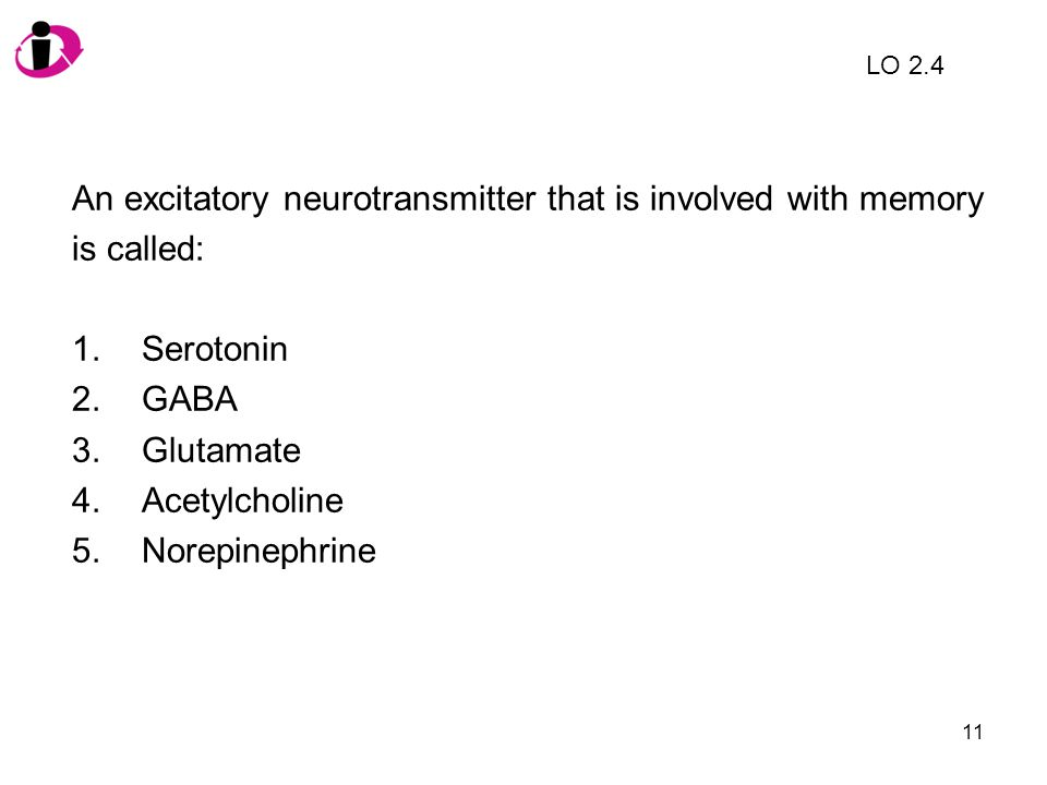 An excitatory neurotransmitter that is involved with memory is called: