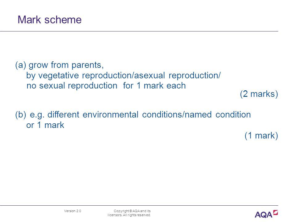 Mark scheme (a) grow from parents,