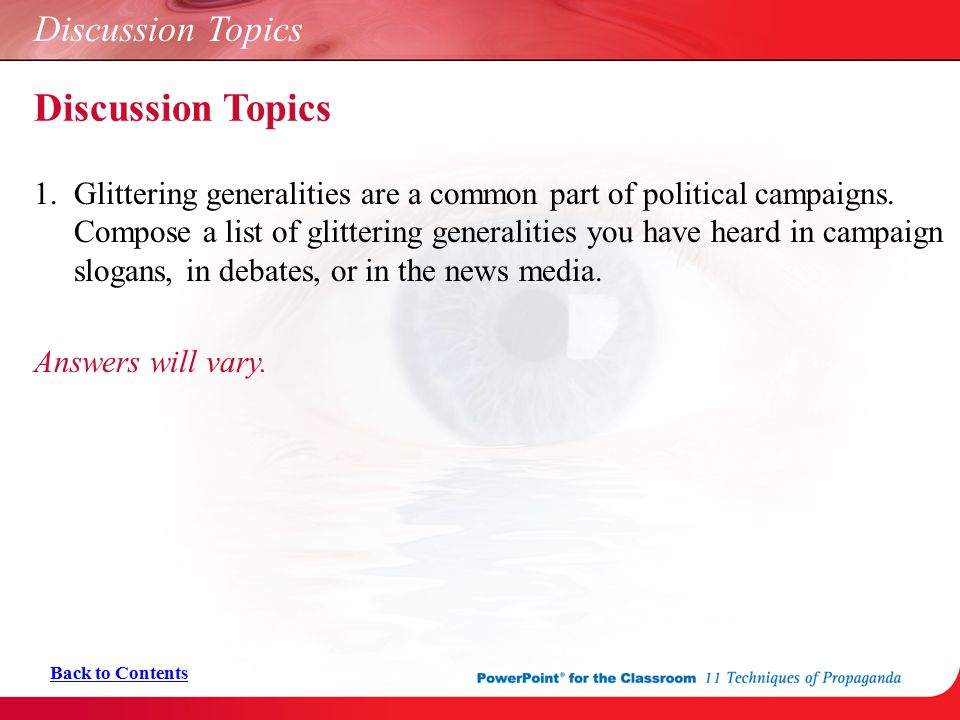 Discussion Topics Discussion Topics