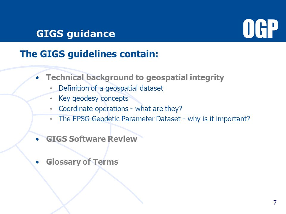 The GIGS guidelines contain:
