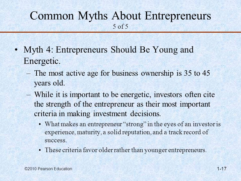 common myths about entrepreneurs Five myths about entrepreneurs: understanding how businesses start and grow march 2001 prepared by the  common myths and misconceptions about entrepreneurship common origins: small businesses and egcs while conventional wisdom about entrepreneurship may be misleading in some.
