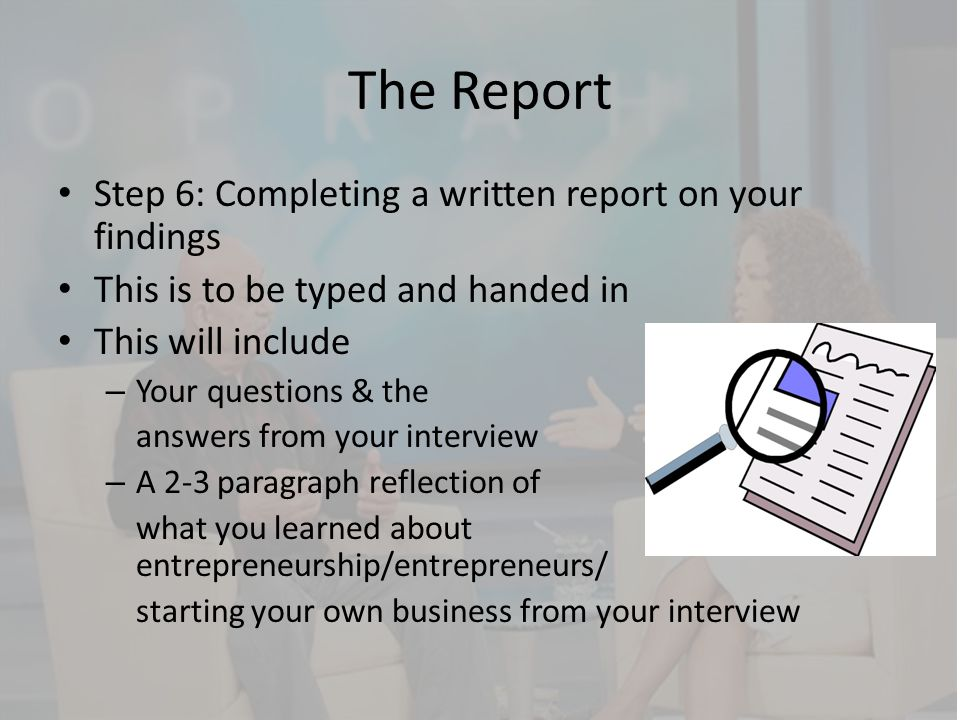 Interviewing an Entrepreneur ppt video online download