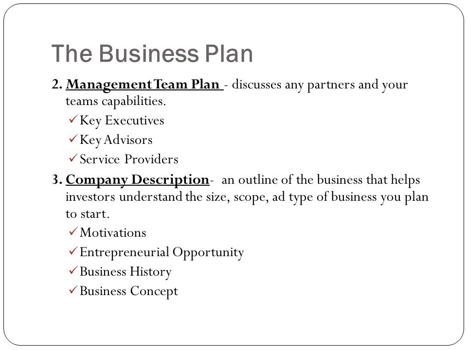 business plan roles