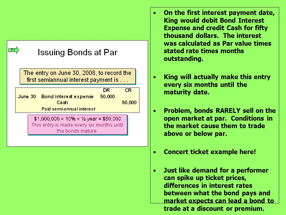 On the first interest payment date, King would debit Bond Interest Expense and credit Cash for fifty thousand dollars. The interest was calculated as Par value times stated rate times months outstanding.