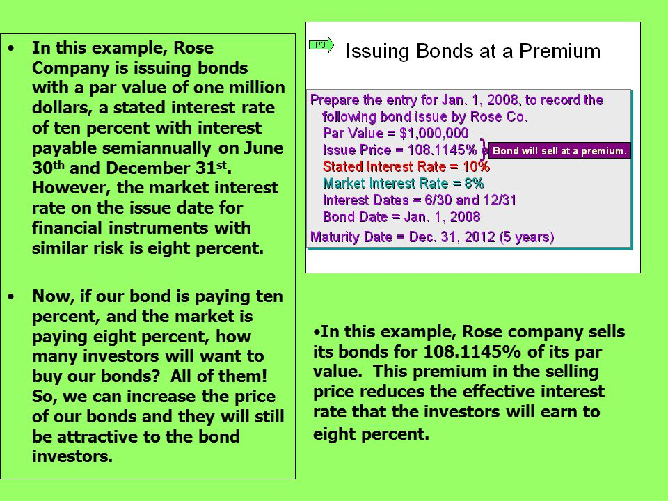In this example, Rose Company is issuing bonds with a par value of one million dollars, a stated interest rate of ten percent with interest payable semiannually on June 30th and December 31st. However, the market interest rate on the issue date for financial instruments with similar risk is eight percent.