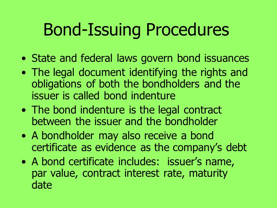 Bond-Issuing Procedures