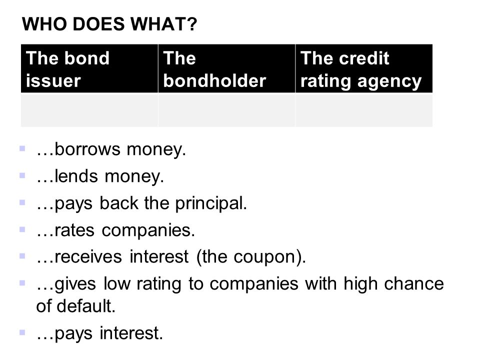 WHO DOES WHAT The bond issuer. The bondholder. The credit rating agency. …borrows money. …lends money.