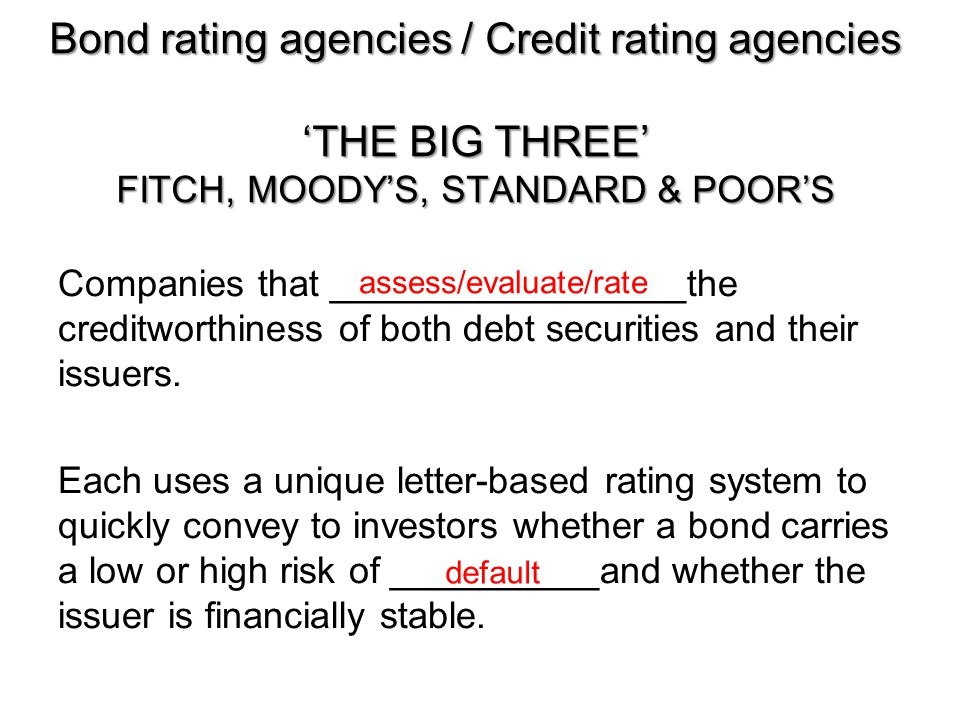 Bond rating agencies / Credit rating agencies 'THE BIG THREE' FITCH, MOODY'S, STANDARD & POOR'S