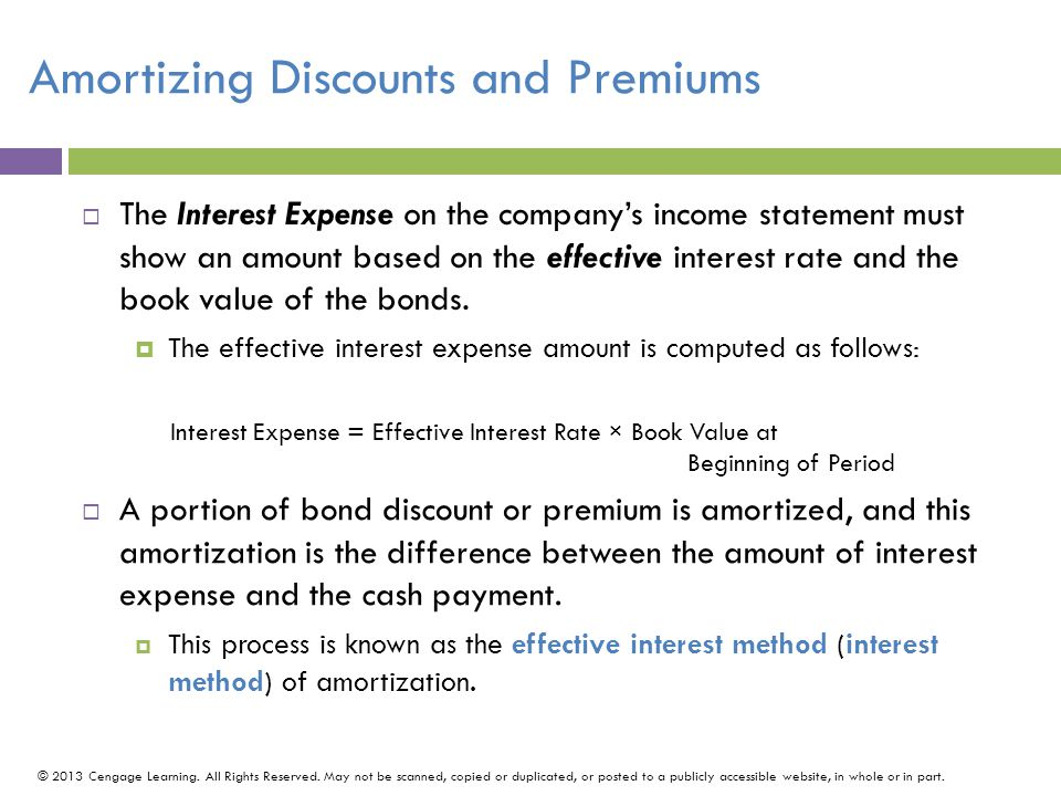 Amortizing Discounts and Premiums