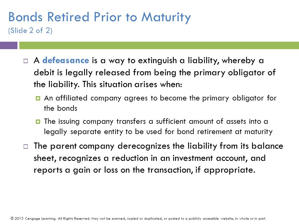 Bonds Retired Prior to Maturity (Slide 2 of 2)