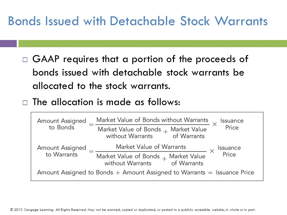 Bonds Issued with Detachable Stock Warrants
