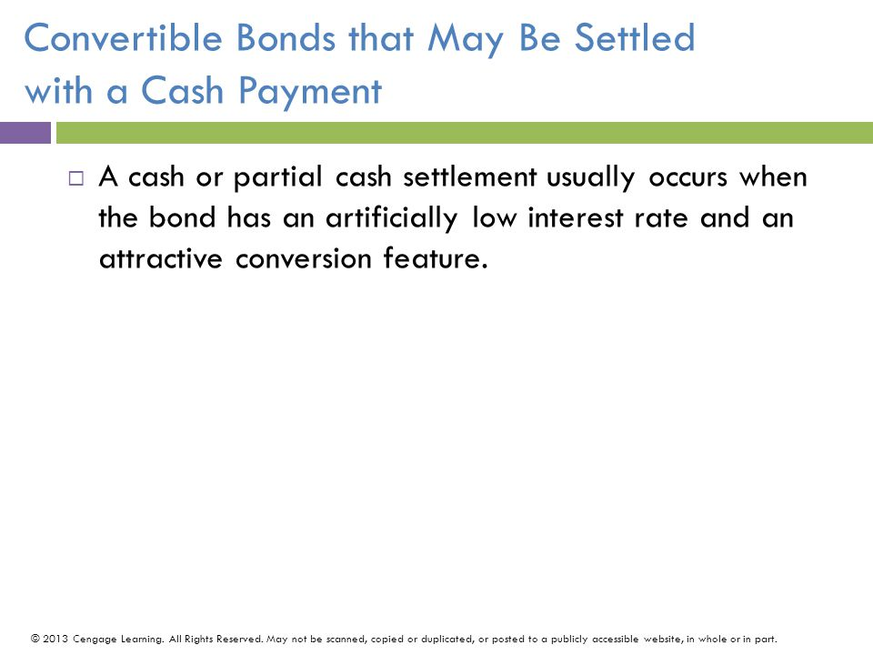 Convertible Bonds that May Be Settled with a Cash Payment