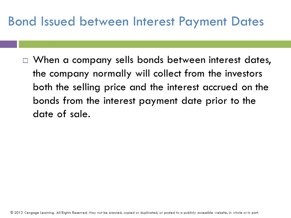 Bond Issued between Interest Payment Dates