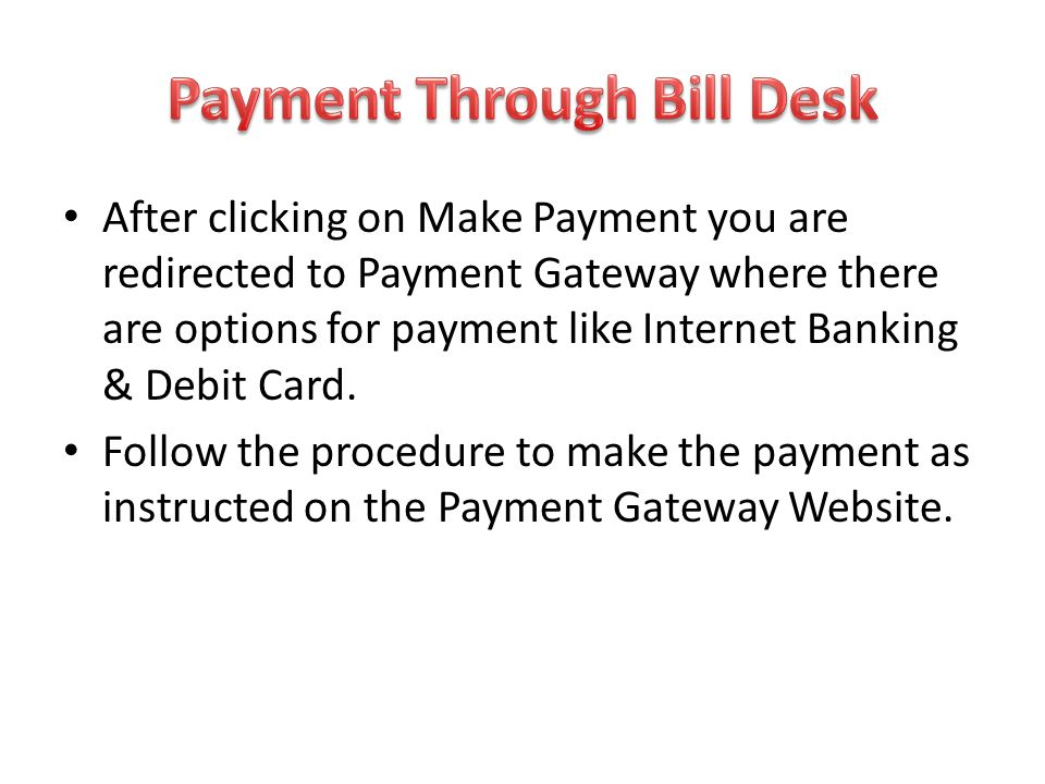 Payment Through Bill Desk