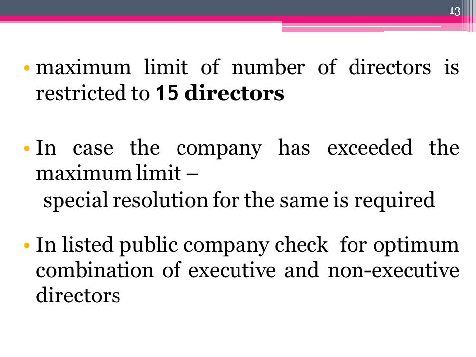 maximum limit of number of directors is restricted to 15 directors