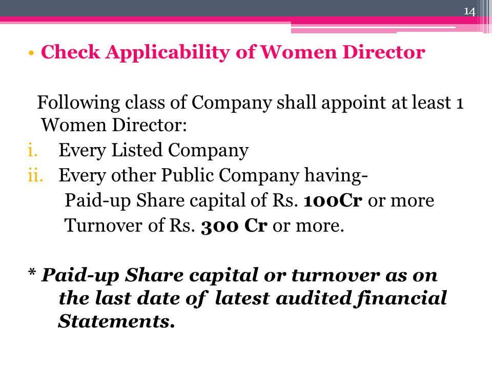 Check Applicability of Women Director