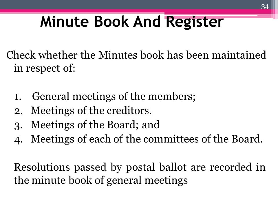 Minute Book And Register