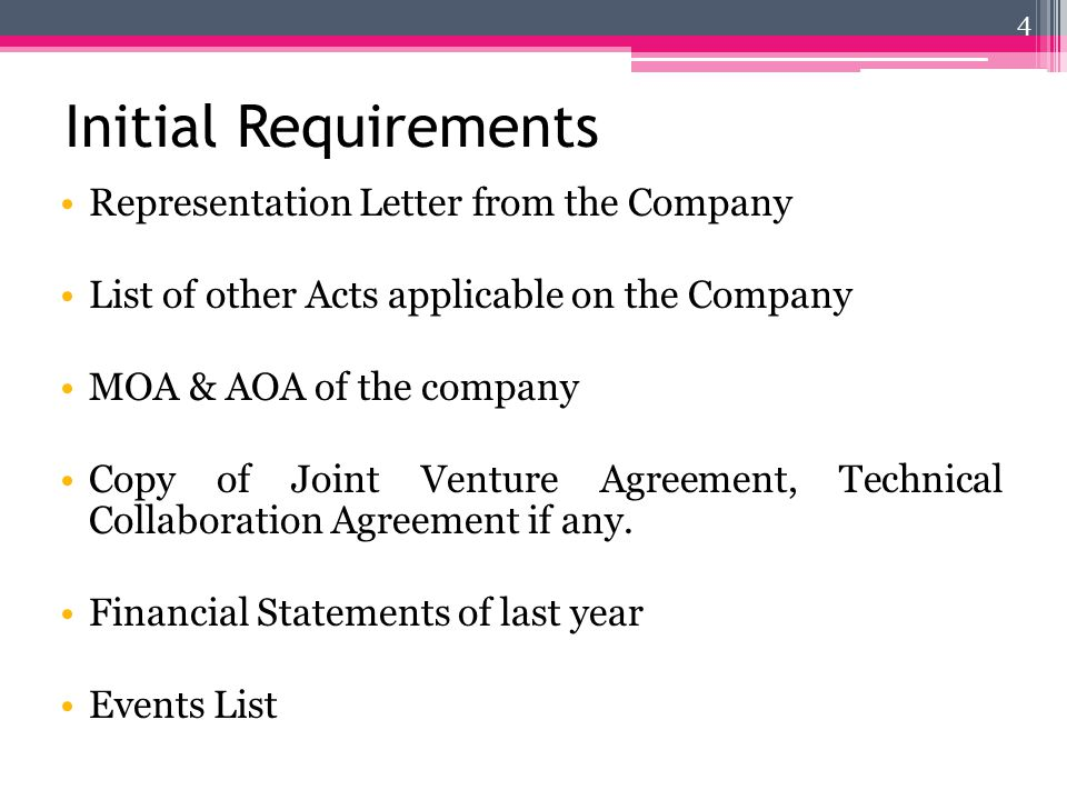 Initial Requirements Representation Letter from the Company