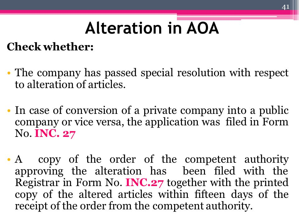 Alteration in AOA Check whether: