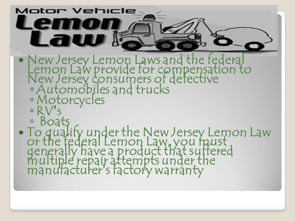 Lemon Law Nj >> Chapter 9 Vehicle Information Ppt Video Online Download
