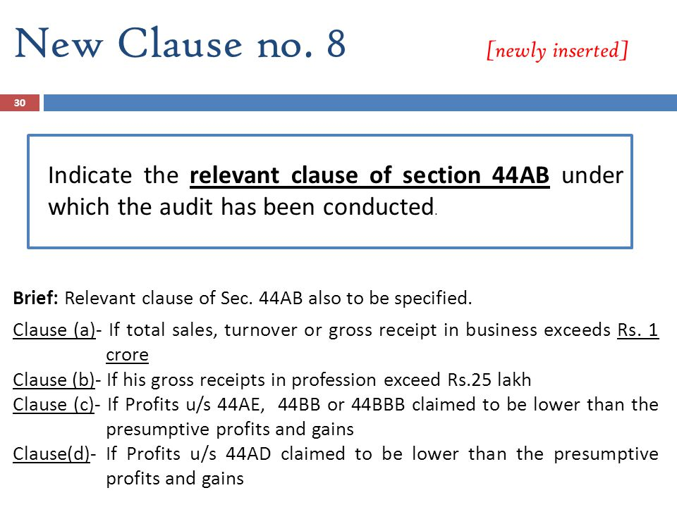 Section 44AB of Income Tax Act, 1961 Assisted By: CA Apoorva