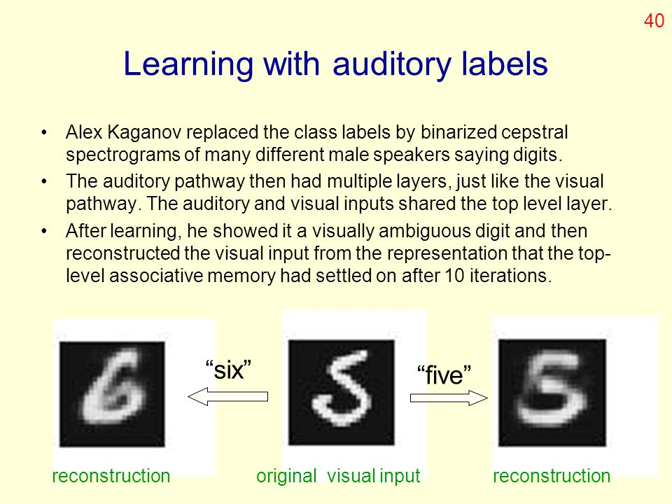 Learning with auditory labels