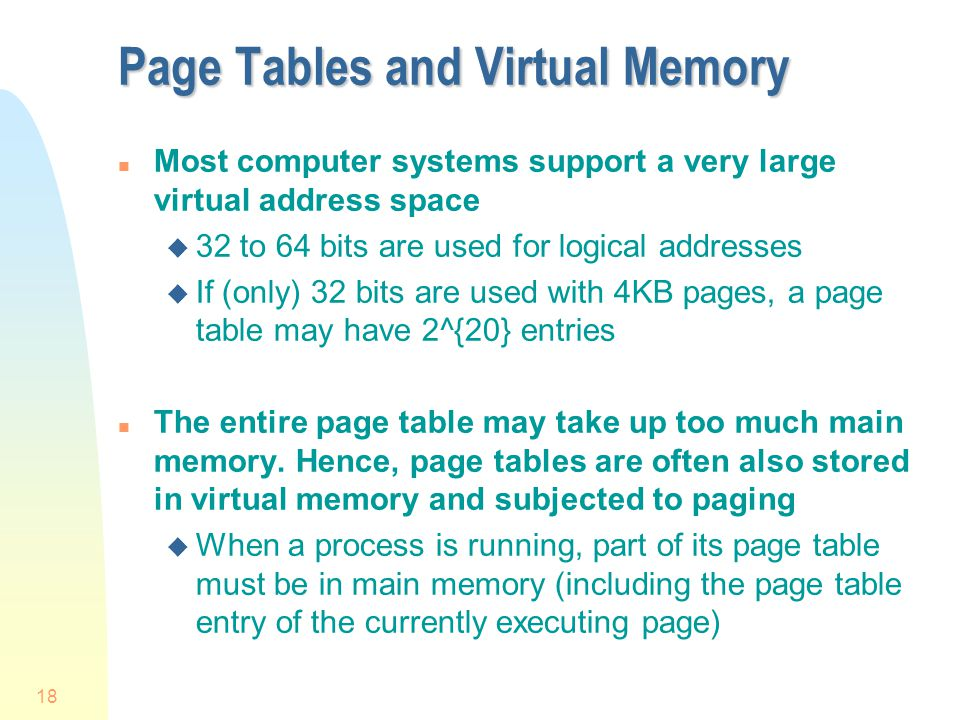 Page Tables and Virtual Memory