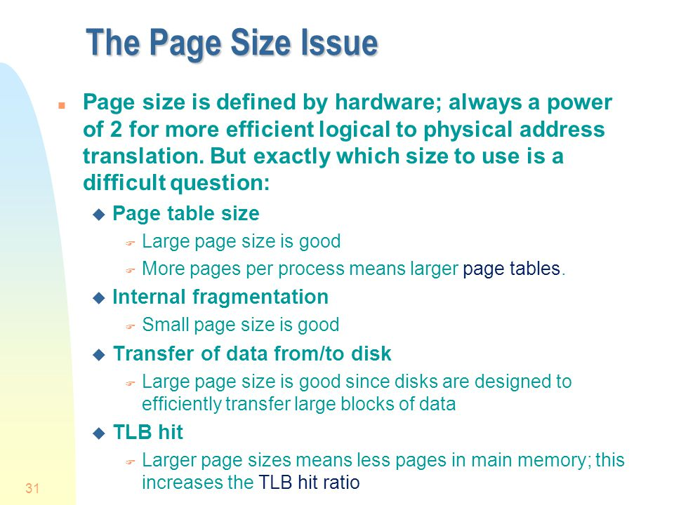 The Page Size Issue