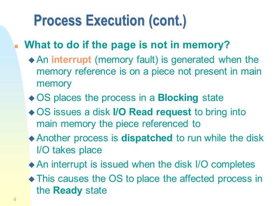 Process Execution (cont.)
