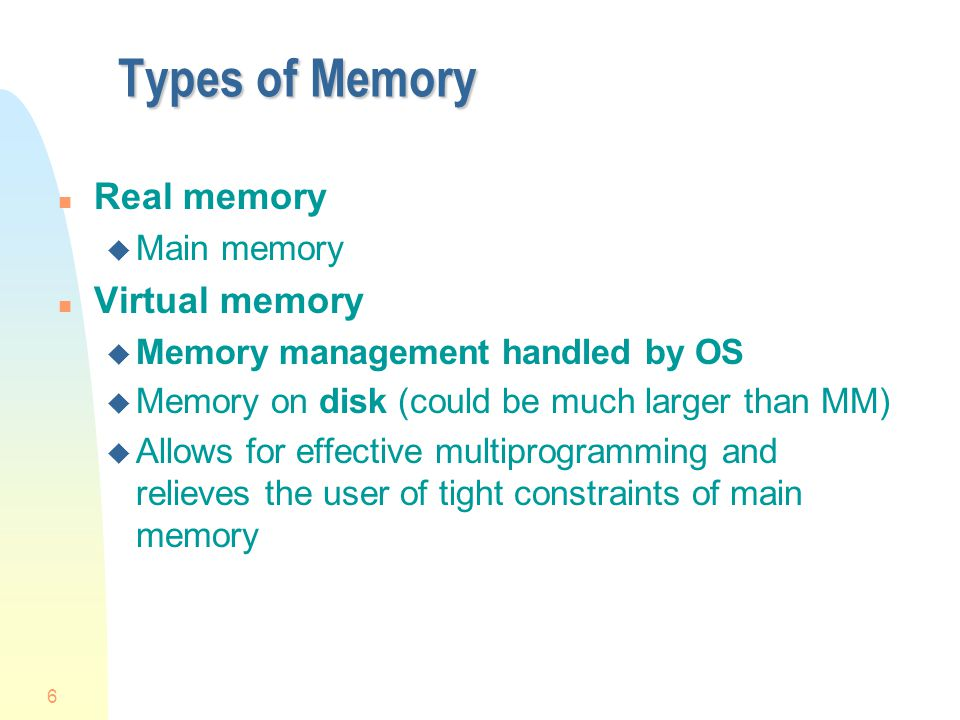 Types of Memory Real memory Virtual memory Main memory