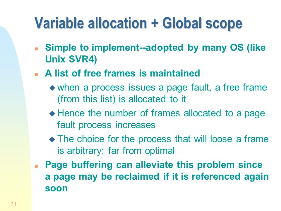 Variable allocation + Global scope