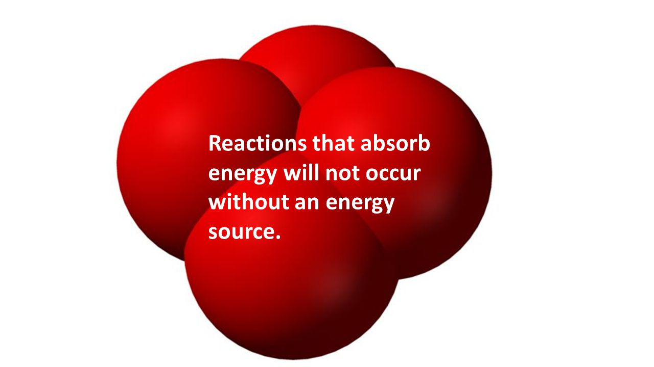 Reactions that absorb energy will not occur without an energy source.