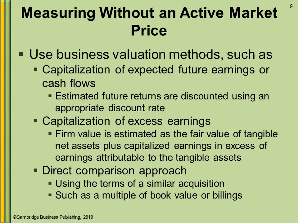 Measuring Without an Active Market Price