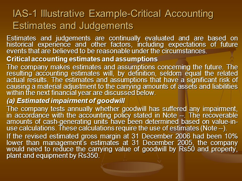 IAS-1 Illustrative Example-Critical Accounting Estimates and Judgements
