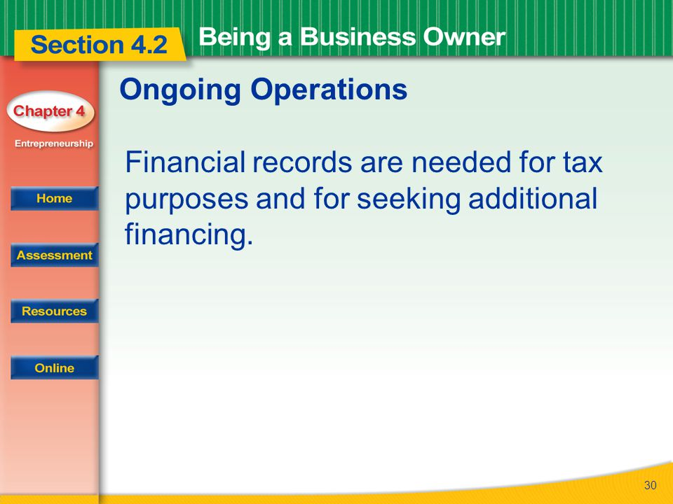 Ongoing Operations Financial records are needed for tax purposes and for seeking additional financing.