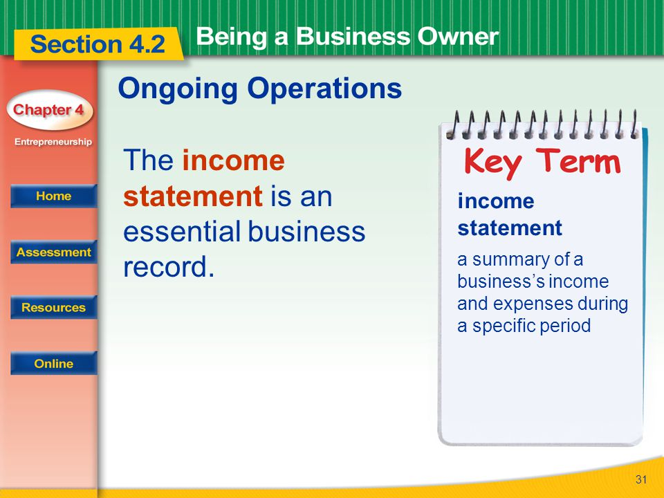 The income statement is an essential business record.