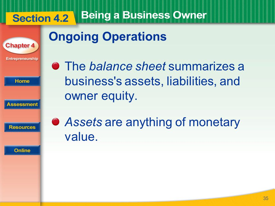 Ongoing Operations The balance sheet summarizes a business s assets, liabilities, and owner equity.