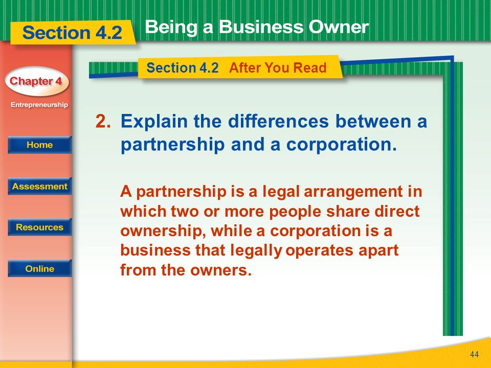 Explain the differences between a partnership and a corporation.