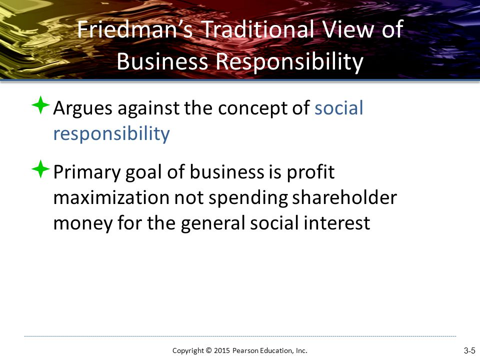 Friedman's Traditional View of Business Responsibility