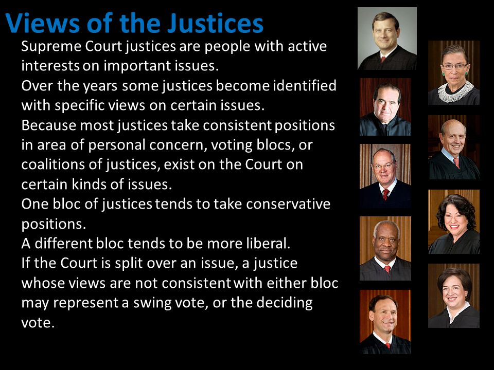 Views of the Justices Supreme Court justices are people with active interests on important issues.
